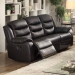 AC Pacific Bennett Black Leather Transitional Reclining Sofa - Walmart.com