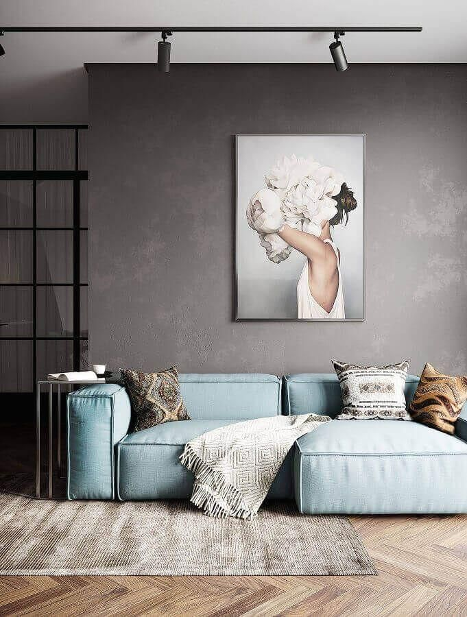 Contemporary sofa for contemporary living room decorated with burned cement wall