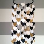 Heart shape paper mobile. Black,white and gold. Baby room decoration. Wedding decoration. home decoration. Child, baby decor