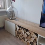 IKEA Besta console with drawer, open storage and some wood storage, which ...