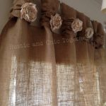 Items similar to Burlap Curtains- Tea dyed rosettes- Wide Tabs on Etsy