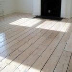 Original pine floor after sanding, staining with white Myland and refinish with ...