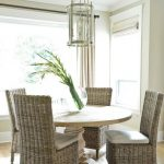 Round Salvaged Wood Dining Table with Wicker Dining Chairs, Transitional, Dining...