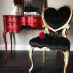 Sold ~ The Queen of Hearts ~ Red French Provincial Vanity And Heart Backed Black Velvet Tufted Chair Set