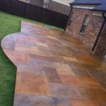 Stained Concrete Patio made to look like slate. Wow. If I ever expand my patio.....