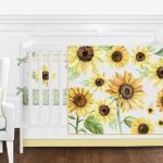 Yellow Green White Flowers Boho Sunflower Baby Girl Nursery Crib Bedding Set #affiliate
