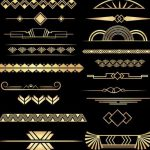 Art Deco Dividers Black and Gold, 20 PNGs, Commercial Use