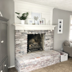 Brick Fireplace Makeover With Shiplap and Whitewash | Blush and Batting Blog