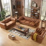 Century Chesterfield Sofa - Light Brown Leather