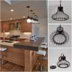 "Contemporary 16"" Black Wire Hanging Ceiling Pendant Fixture with 4 lights for sale online 