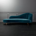 Copine Peacock Velvet Curved Chaise Lounge + Reviews | CB2