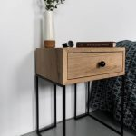 Industrial Bedside Table | Mid Century Industrial Style | Solid oak wood and black finish metal legs| Nightstand | end table NO-ID-02-01