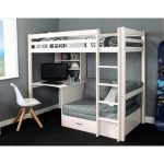 Isabelle & Max Cutler European Single High Sleeper Loft Bed with Shelf and Desk | Wayfair.co.uk
