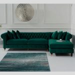 Nesta Chesterfield Right Corner Sofa In Green Velvet And Wooden Legs, it feature...