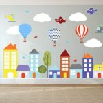wall decals- Kids wall decals- city decal-  buildings decal-  vinyl wall decal-- nursery wall decals - Hot air balloons