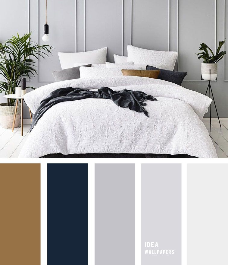 10 Best Color Schemes for Your Bedroom { Navy Blue and Grey + Hint of Gold }, gr…
