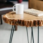 Round Coffee Table, Live Edge Coffee Table, Rustic Wood Slab Coffee Table, Modern Hairpin Legs End Table, Mid Century Coffee Table