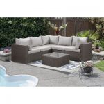 Cathy 3-Piece Wicker Conversation Patio Set with Coffee Table - Grey/Greize