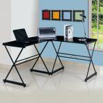 Techni Mobili 3805L L-Shaped Glass Corner Computer Desk