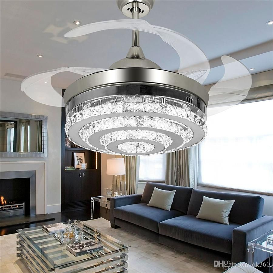 2019 Invisible Crystal Light Ceiling Fans Modern LED Crystal Lamp Indoor Parlor Ceiling Fans Crystal Light Remote Control Control LLFA11  From Volvo Dh2010, $510.4 | DHgate.Com
