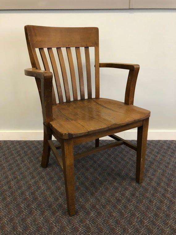 Vintage WOOD OFFICE CHAIR banker desk courthouse gunlocke lawyer antique arm mission oak wooden slat slatback living room sikes milwaukee 3