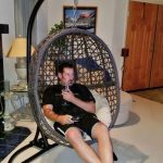 Belham Living Resin Wicker Hanging Egg Chair with Cushion and Stand - Walmart.com
