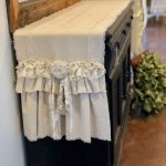 Custom Farmhouse Table Runner or Dresser runner,multi ruffle,White ivory canvas,Linen, Shabby lace,Handmade,French Country Table Runner