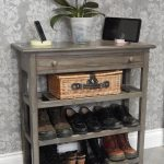 Narrow Console Table with drawer and 3 shelves, Metallic Grey, Console Table, Hallway Furniture, Shoe Storage, Entryway Furniture, Shelves,