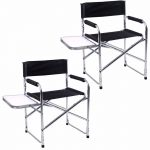 2 Aluminum Folding Director's Lawn Chair Side Table