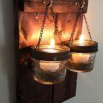 2 Candle Hanging Small Wall Sconce, Rustic Home Decor, Candle Holder Sconce, Ball Jar Decor, Mason Jar Wall Decor, Lighted Mason Jar