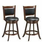 """2-Set 24"""" Swivel Bar Stool Wooden Counter Height Chairs Home Kitchen #Furniture"""
