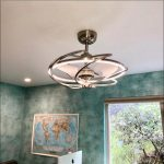 """27"""" Bucholz Ceiling Fan with LED Lights, Modern Chandelier Fan with Remote Control, 3 Reversible Blades, Satin Nickel"""