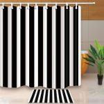 $3.89 - Black And White Stripe Waterproof Polyester Fabric Shower Curtain 72 X 72 Inch #ebay #Home & Garden