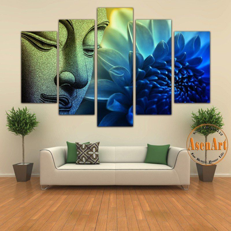 5 Pieces Wall Picture Buddha Painting Flower Canvas Wall Art Picture Home Decoration Canvas Print Artwork Unframed