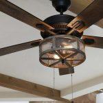 "52"" Abbigail Woodgrain Caged Farmhouse 5 Blade Ceiling Fan Light Kit Included"