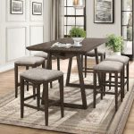 7 pc Kirke brown finish wood fabric padded stools mid century modern counter height dining table set