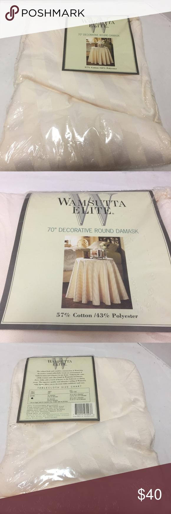 70″ Round Tablecloth Cream Wamsutta Elite Damask Wasmsutta Elite 70″ decorative …
