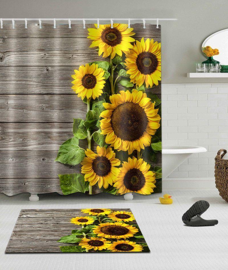 72/79″Sunflower Wood–Bath Waterproof Fabric SHOWER CURTAIN & MAT &12HOOK 1898 | eBay
