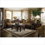 AICO Furniture – Essex Manor Wood Trim Chair and a Half Ottoman Set – 76838-DPBRN-57/76877-DPBRN-57