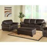 Abbyson Living Bellavista Brown Italian Leather Oversized Chair and Ottoman Sofa...