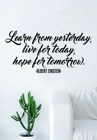 Albert Einstein Learn from Yesterday Quote Wall Decal Sticker Bedroom Living Room Art Vinyl Beautiful Inspirational Teen School Smart