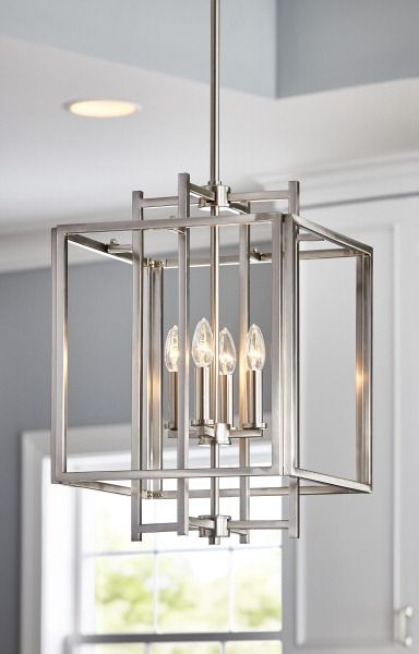 Allen + roth Brushed Nickel Single Industrial Geometric Pendant Light at Lowes.com