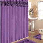 Amazon.com: 4 Piece Bath Rug Set / 3 Piece Purple Zebra Bathroom Rugs with Fabric Shower Curtain and Matching Mat/rings: Home & Kitchen