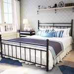 Amazon.com: Metal Bed Frame Queen Size with Vintage Headboard and Footboard Platform Base Wrought Iron Bed Frame Black: Kitchen & Dining