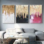 Arte de oro 3 piezas arte pared Original pintura abstracta conjunto de 3 pared arte pintura acrílica en lienzo pared imagen de la decoración cuadros abstractos