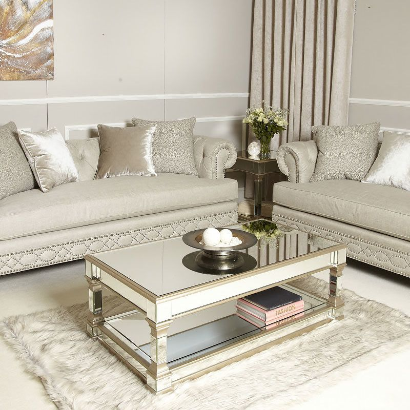 Athens Gold Mirrored Low Coffee Table | Picture Perfect Home