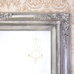 "BRUSHED NICKEL ACCENTS Bathroom Mirror Framed Baroque Vanity Mirror Wall Mirror 31""x27"" Decorative Ornate Unique Mirror Rectangle"