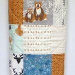 Baby blankets for boys, modern forest crib bedding, hello bear, deer, fox baby blanket, art gallery fabric, gray, mint, navy, arrows