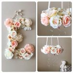 """Baby mobile and matching 19"""" flower letter with discount, Floral mobile, Flower letter, mobile with genuine Swarovski crystals, Nursery deco"""