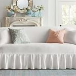 Ballad Bouquet By Waverly One Piece Sofa Slipcover   Ruffled Skirt   100% Cotton   Machine Washable